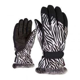 ZIENER M801117 KIM RUKAVICE LYŽIARSKE DÁMSKE wild zebra  (kód: 8013) ZIENER