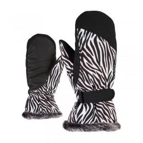 ZIENER M801118 KIM RUKAVICE LYŽIARSKE DÁMSKE PALČIAKY zebra  (kód: 7984) ZIENER